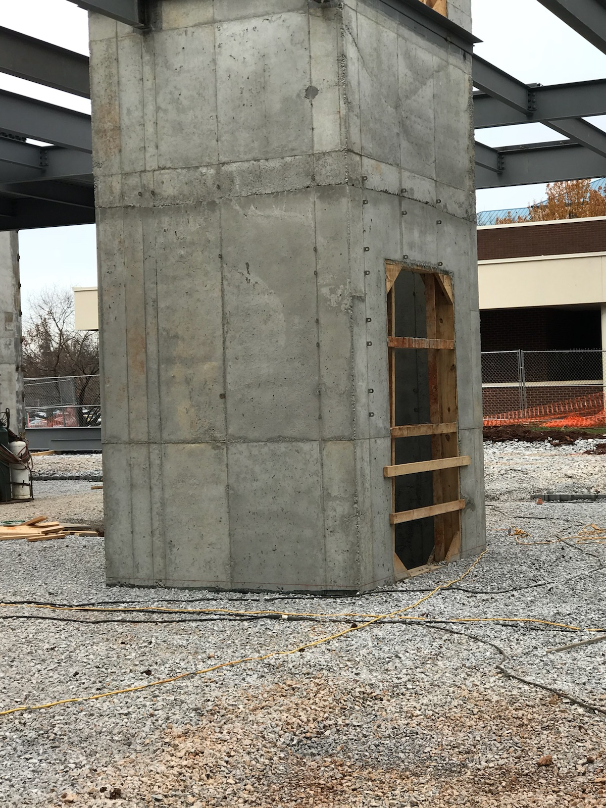 Construction of new elevator shaft 50 feet high at UAH in Huntsville, Alabama